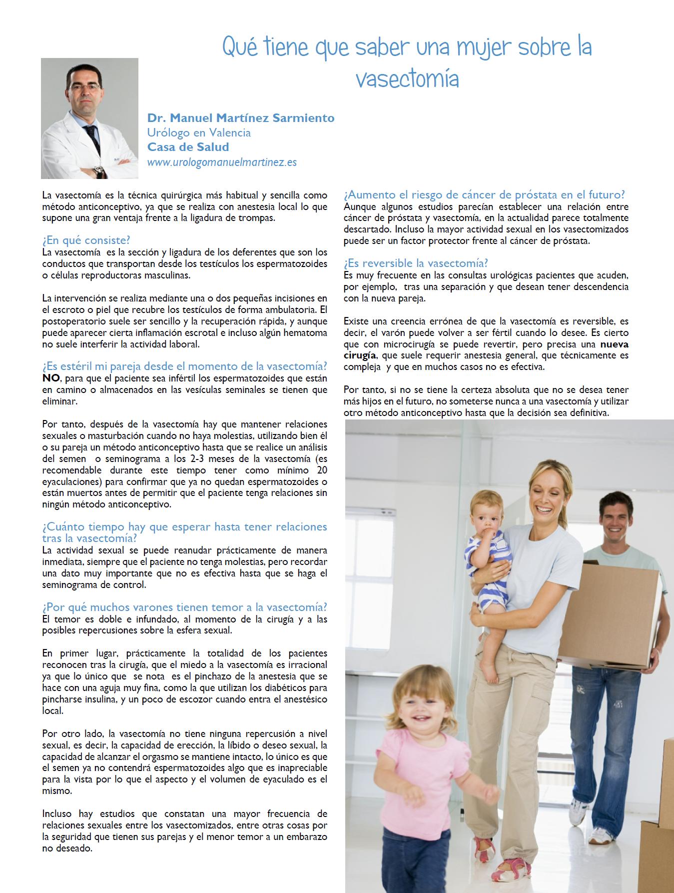Urólogo en Valencia Vasectomía